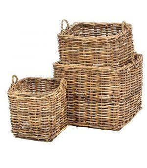 Square rattan basket S/3