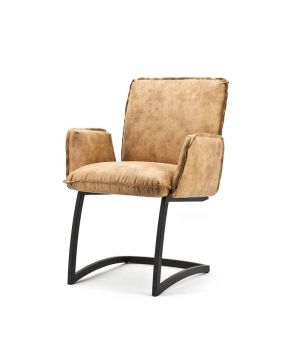 Chair Joel with arm. - Pasadena cognac