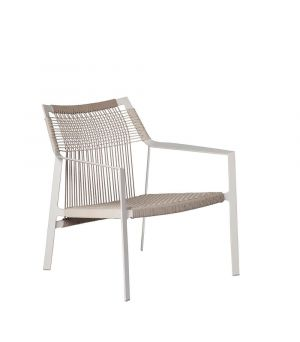 Easy chair Nodi white + linen